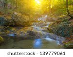 Mountain River In A Rays Of Sun