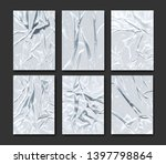 set of badly glued white paper. ... | Shutterstock .eps vector #1397798864