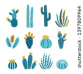vector set of bright cacti ... | Shutterstock .eps vector #1397809964
