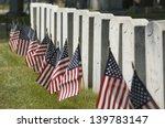 Row Of Cemetery Headstones...