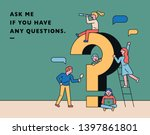 small characters asking... | Shutterstock .eps vector #1397861801
