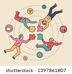 people who set up a puzzle... | Shutterstock .eps vector #1397861807