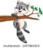 cartoon raccoon on the tree... | Shutterstock .eps vector #1397881814