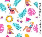 summer time vacation seamless...   Shutterstock . vector #1397897864