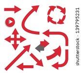 set of red arrows. vector. | Shutterstock .eps vector #139795231