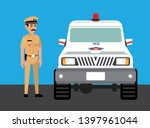 mumbai police officer with car | Shutterstock .eps vector #1397961044