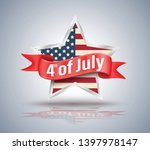 4th of july red ribbon with usa ... | Shutterstock .eps vector #1397978147