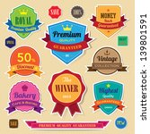 Set of retro  vintage sticker badges and labels.eps10 - stock vector