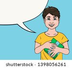 vector pop art smiling little... | Shutterstock .eps vector #1398056261