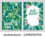 vector set of summer cards with ... | Shutterstock .eps vector #1398056954