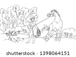 cartoon style girl with horse... | Shutterstock .eps vector #1398064151