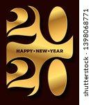 2020 happy new year gold logo.... | Shutterstock .eps vector #1398068771
