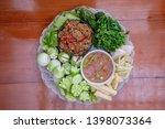 Stock photo fried mackerel with shrimp paste sauce and scald vegetable nam prik kapi pla too thai food 1398073364