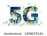 5g flat vector illustration.... | Shutterstock .eps vector #1398075131