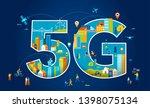 5g flat vector illustration.... | Shutterstock .eps vector #1398075134