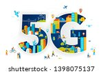 5g flat vector illustration.... | Shutterstock .eps vector #1398075137