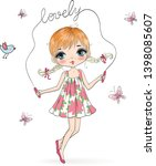 hand drawn beautiful cute... | Shutterstock .eps vector #1398085607