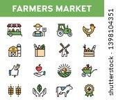 vector farmers market icon set. ... | Shutterstock .eps vector #1398104351