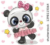 cute cartoon panda ballerina on ... | Shutterstock .eps vector #1398115064