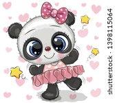 cute cartoon panda ballerina on ... | Shutterstock .eps vector #1398115064