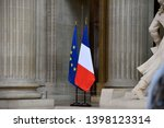 French And European Flags Side...