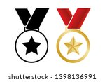 medal with star. vector... | Shutterstock .eps vector #1398136991