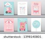 set of baby shower invitation...   Shutterstock .eps vector #1398140801