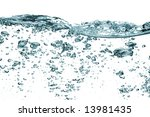 Air bubbles isolated over white, with visible surface - stock photo