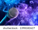 closeup of microphone enveloped ... | Shutterstock . vector #1398182627