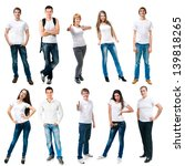 Small photo of set photos of a young people smiling in white t-shirts