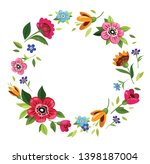round flower frame for... | Shutterstock .eps vector #1398187004