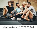 group of smiling friends in... | Shutterstock . vector #1398239744
