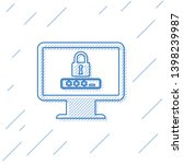 blue monitor with password... | Shutterstock .eps vector #1398239987