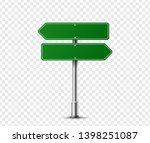 realistic arrow traffic sign on ... | Shutterstock .eps vector #1398251087