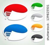 Vector shopping cart item, trolley, oval button - stock vector