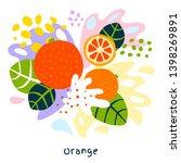 Fresh orange tropical exotic citrus fruits juice splash organic food juicy splatter oranges on abstract background vector hand drawn illustrations