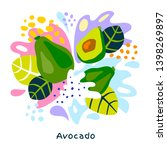 fresh avocado tropical exotic... | Shutterstock .eps vector #1398269897