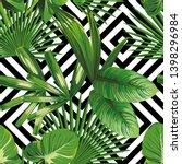 print summer exotic jungle... | Shutterstock . vector #1398296984