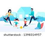 cartoon family playing ball... | Shutterstock .eps vector #1398314957
