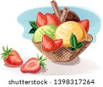 a cup with various flavors of... | Shutterstock .eps vector #1398317264