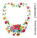 flower frame in shape of heart .... | Shutterstock .eps vector #1398348917