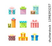 9 colorful vector flat boxes... | Shutterstock .eps vector #1398393257