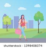 woman holding bag vector ...   Shutterstock .eps vector #1398408374