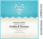 blue wedding invitation design... | Shutterstock .eps vector #139841131