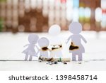 paper cut of family destroyed... | Shutterstock . vector #1398458714