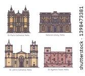set of isolated maltese famous... | Shutterstock .eps vector #1398473381