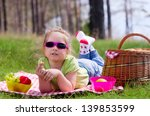 little girl with picnic basket... | Shutterstock . vector #139853599