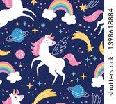 unicorn pattern. vector... | Shutterstock .eps vector #1398618884