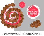 spiral of macadamia nuts with... | Shutterstock .eps vector #1398653441