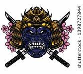 full color detail gorilla...   Shutterstock .eps vector #1398727844